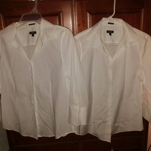 Talbots White button up dress blouse
